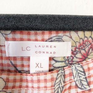 LC Lauren Conrad Tops - LC Lauren Conrad Gingham Floral Square Neck Blouse